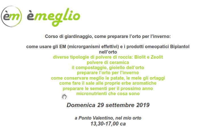 """Corso a Ponto Valentino """"giardinaggio""""  29 settembre 2019"""